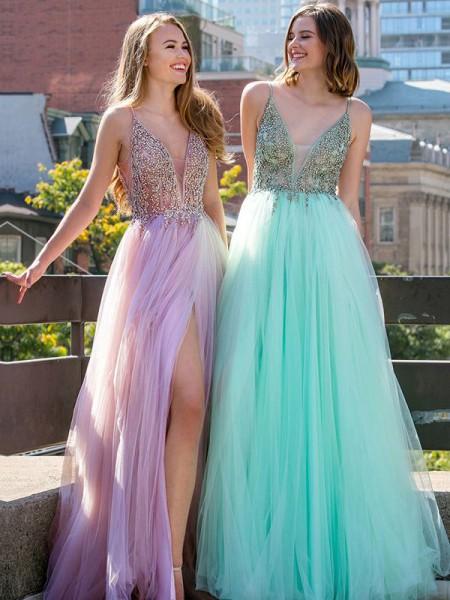 Princesa/Formato A Sem Mangas Decote em V Até ao chão Missangas Tule Vestidos