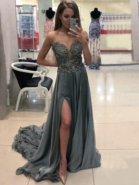 Princesa/Formato A Sem Mangas Com cauda/Arrastar Vestido bateau Cristal Chiffon Vestidos