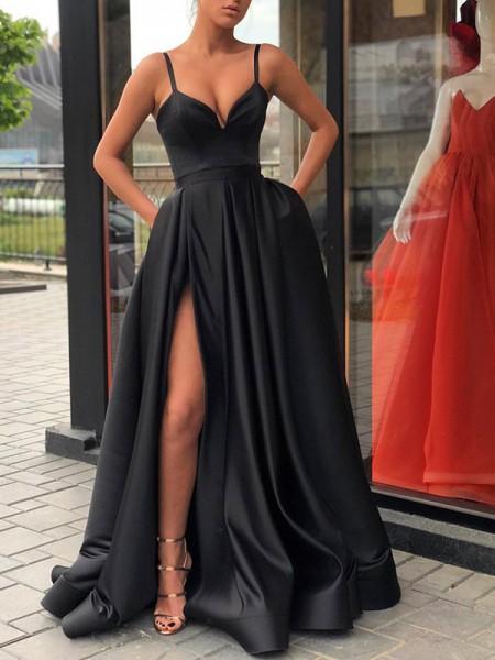 Princesa/Formato A Sem Mangas Com cauda/Arrastar Alças Folhos Cetim Vestidos