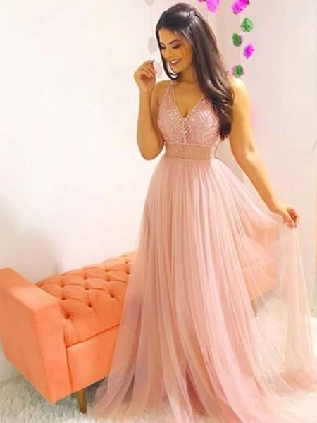 Princesa/Formato A Sem Mangas Com cauda/Arrastar Decote em V Cristal Tule Vestidos