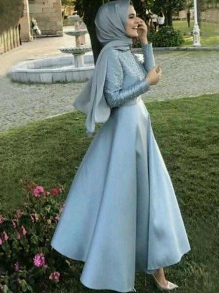 Princesa/Formato A Manga Comprida Até ao chão Decote e costas em U Missangas Cetim Muslim Vestidos