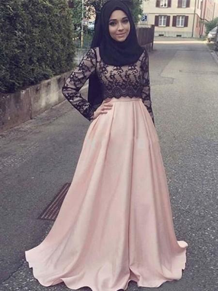 Princesa/Formato A Manga Comprida Com cauda/Arrastar Decote e costas em U Appliques Cetim Muslim Vestidos