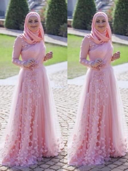 Princesa/Formato A Manga Comprida Com cauda/Arrastar Decote e costas em U Appliques Tule Muslim Vestidos