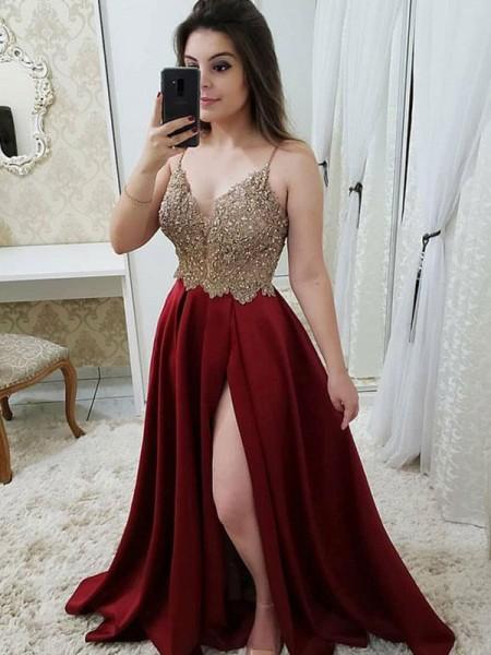 Princesa/Formato A Sem Mangas Alças Com cauda/Arrastar Missangas Cetim Vestidos