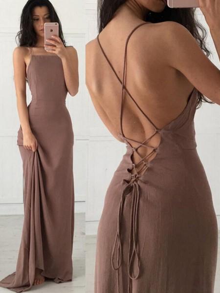 Bainha/Coluna Sem Mangas Alças Com cauda/Arrastar Folhos Chiffon Vestidos