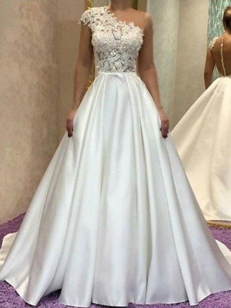 Princesa/Formato A Sleeveles Um Ombro Com cauda/Arrastar Renda Vestidos de Noiva com Cetim