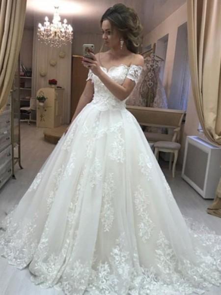 Princesa/Formato A Ombro a Ombro Com cauda/Arrastar Sem Mangas Appliques Vestidos de Noiva com Tule