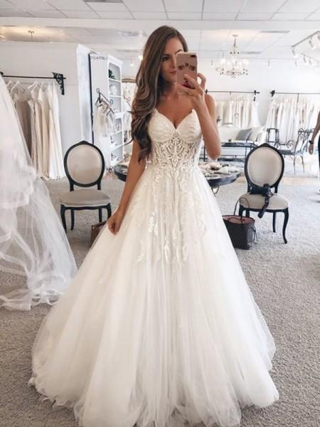 Princesa/Formato A Coração Sem Mangas Até ao chão Renda Vestidos de Noiva com Tule