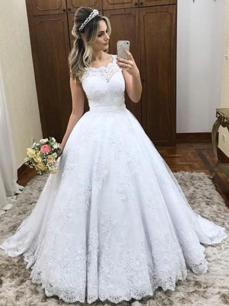 De Baile Decote e costas em U Com cauda/Arrastar Sem Mangas Renda Vestidos de Noiva com Cetim