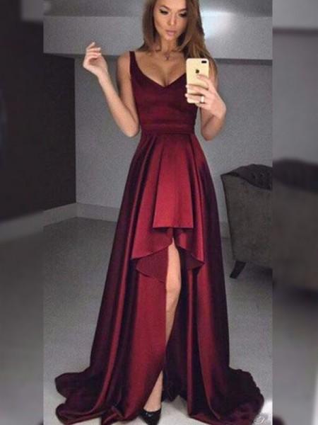Princesa/Formato A Sem Mangas Alças Assimétrico Folhos Vestidos com Cetim