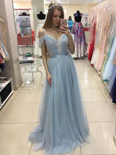 Princesa/Formato A Folhos Alças Finas Com cauda/Arrastar Sem Mangas Vestidos com Tule