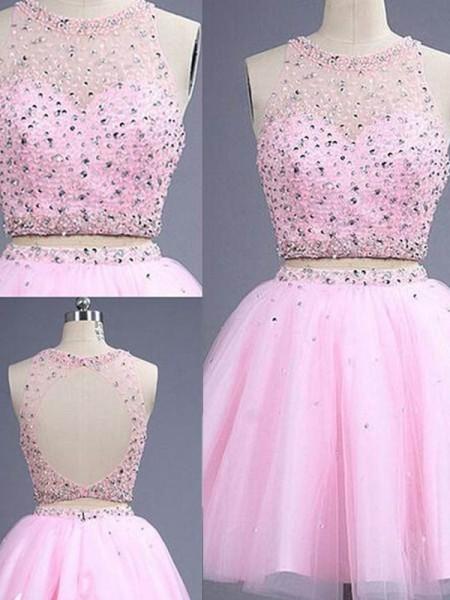 Princesa/Formato A Sem Mangas Decote e costas em U Curto/Mini Missangas Tule Vestidos de Festa Dois Pedaços