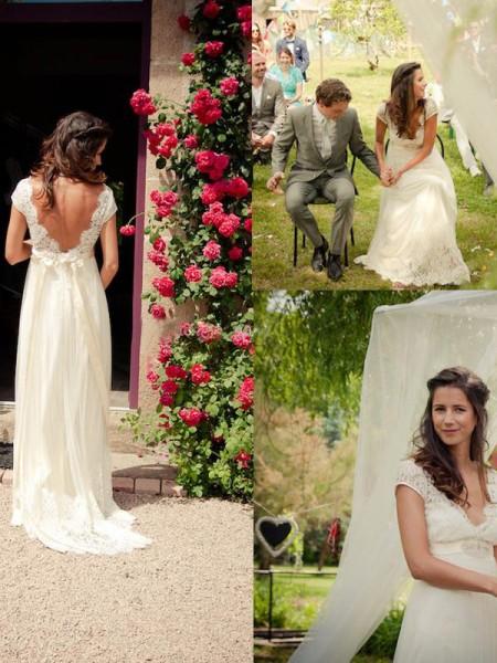 Princesa/Formato A Decote em V Com cauda/Arrastar Sem Mangas Missangas Tule Vestidos de Noiva