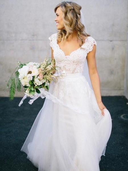Princesa/Formato A Decote em V Até ao chão Sem Mangas Renda Tule Vestidos de Noiva