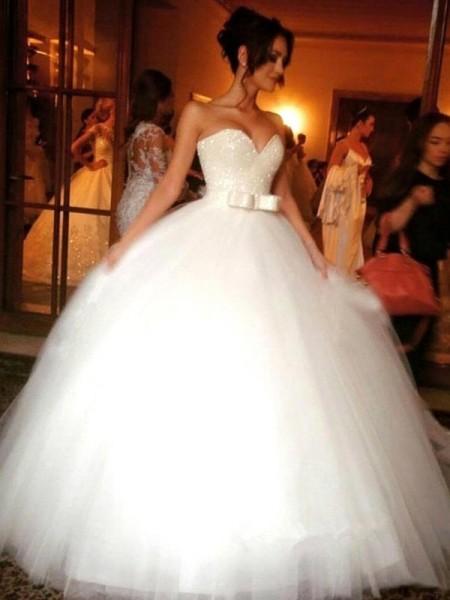 De Baile Laço Coração Tule Sem Mangas Até ao chão Vestidos de Noiva