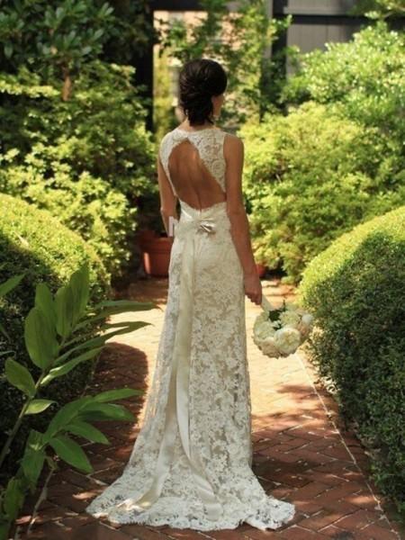 Bainha/Coluna Sem Mangas Renda Decote em V Com cauda/Arrastar Vestidos de Noiva