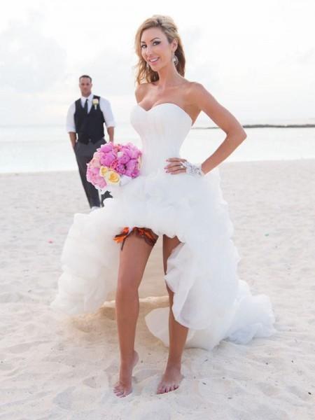 Princesa/Formato A Coração Assimétrico Sem Mangas Organza Vestidos de Noiva