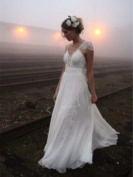 Princesa/Formato A Decote em V Até ao chão Sem Mangas Renda Chiffon Vestidos de Noiva