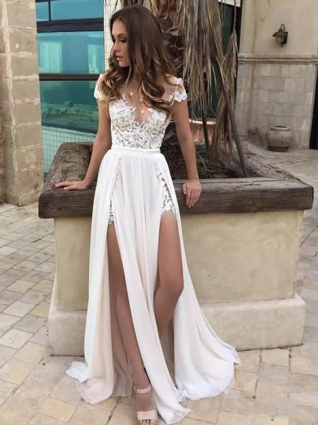 Princesa/Formato A Decote em V Com cauda/Arrastar Sem Mangas Renda Chiffon Vestidos de Noiva