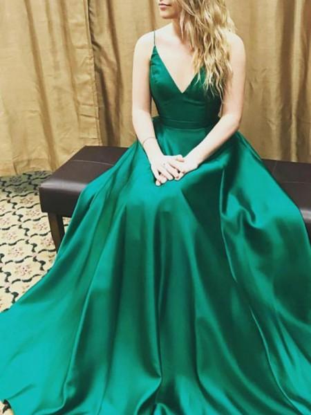 Princesa/Formato A Sem Mangas Alças Finas Cetim Até ao chão Vestidos