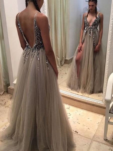 Princesa/Formato A Sem Mangas Decote em V Tule Lantejoula Com cauda/Arrastar Vestidos
