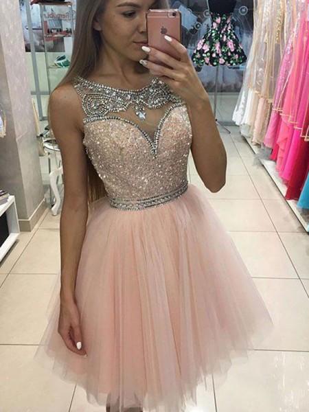 Princesa/Formato A Sem Mangas Decote e costas em U Missangas Curto/Mini Tule Vestidos