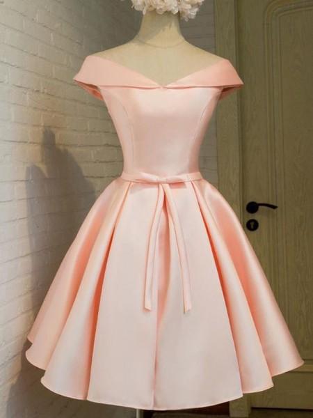 Princesa/Formato A Decote em V Sem Mangas Cinturão/Fitas Cetim Curto/Mini Vestidos