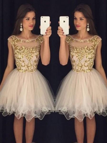 Princesa/Formato A Sem Mangas Decote e costas em U Lantejoula Tule Curto/Mini Vestidos