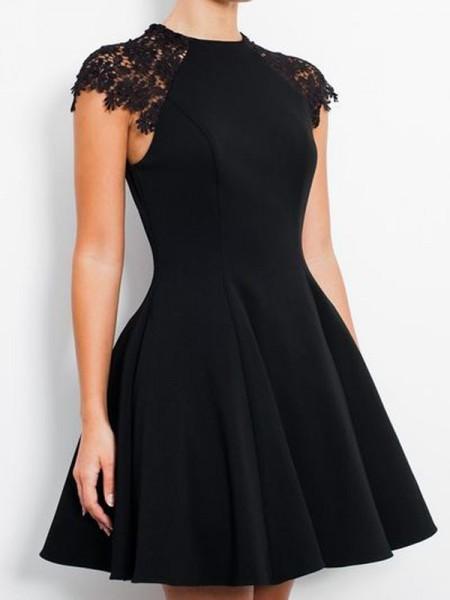 Princesa/Formato A Sem Mangas Decote e costas em U Renda Jersey Curto/Mini Vestidos