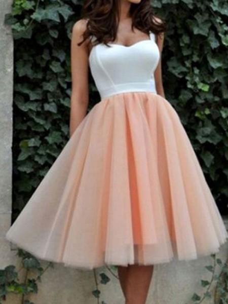 Princesa/Formato A Sem Mangas Coração Tule Curto/Mini Vestidos