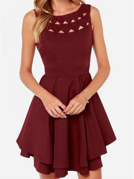 Princesa/Formato A Sem Mangas Decote e costas em U Jersey Curto/Mini Vestidos