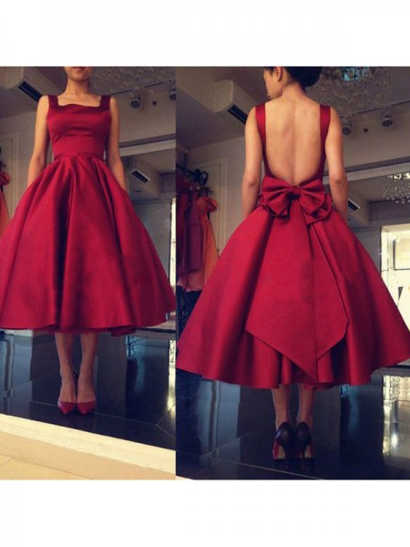Princesa/Formato A Sem Mangas Square Laço Cetim Curto/Mini Vestidos