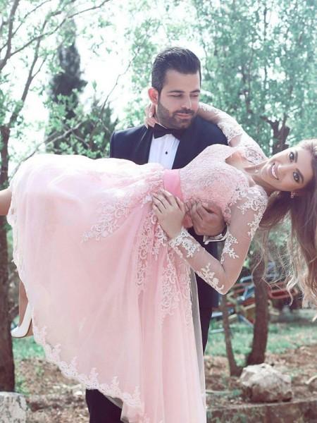 Princesa/Formato A Sem Mangas Coração Renda Tule Curto/Mini Vestidos