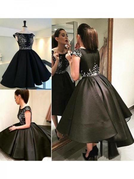 Princesa/Formato A Sem Mangas Decote e costas em U Paetês Cetim Curto/Mini Vestidos