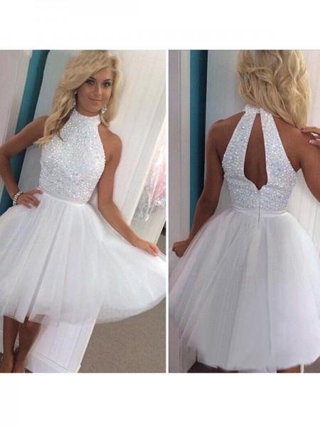 Princesa/Formato A Sem Mangas Halter Missangas Tule Curto/Mini Vestidos