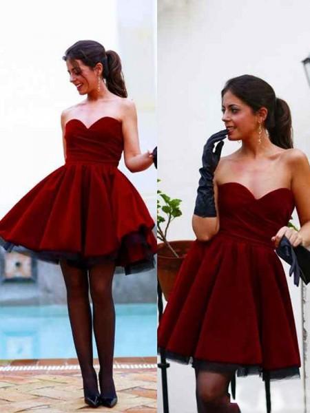 Princesa/Formato A Sem Mangas Coração Cetim Curto/Mini Vestidos