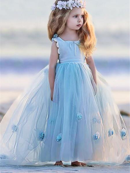 De Baile Vestido bateau Sem Mangas Flores Feitas à Mão Até ao chão Tule Vestidos Menina das Flores