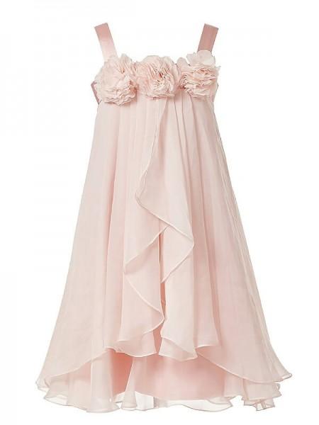 Princesa/Formato A Alças Flores Feitas à Mão Chiffon Até ao tornozelo Vestidos Menina das Flores