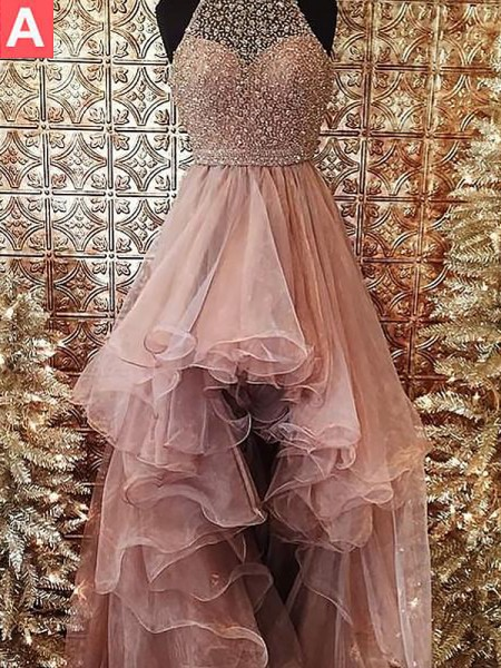 De Baile Halter Missangas Sem Mangas Com cauda/Arrastar Organza Vestidos
