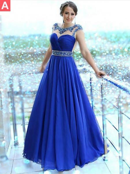Princesa/Formato A Vestido bateau Sem Mangas Até ao chão Missangas Chiffon Vestidos