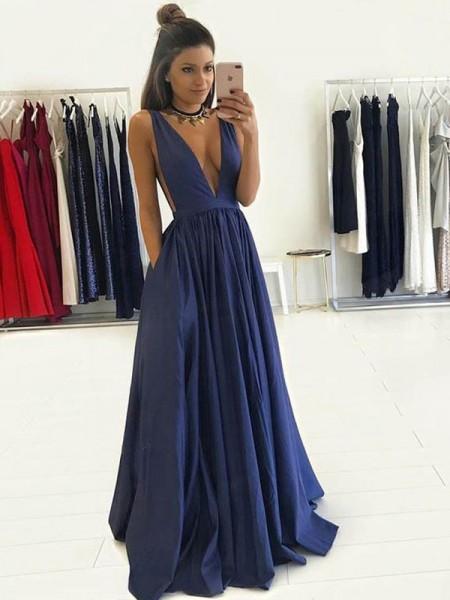 Princesa/Formato A Decote em V Sem Mangas Até ao chão Tafetá Vestidos