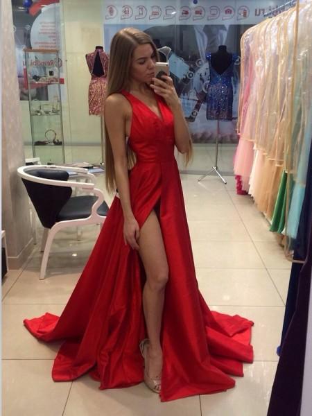 Princesa/Formato A Halter Sem Mangas Com cauda/Arrastar Tafetá Vestidos