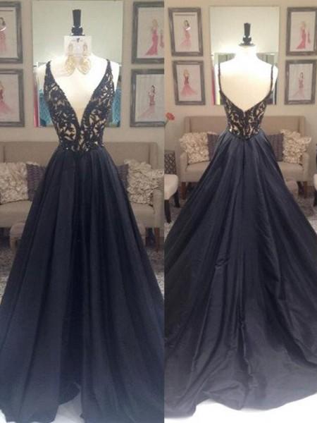 Princesa/Formato A Decote em V Sem Mangas Com cauda/Arrastar Tafetá Vestidos
