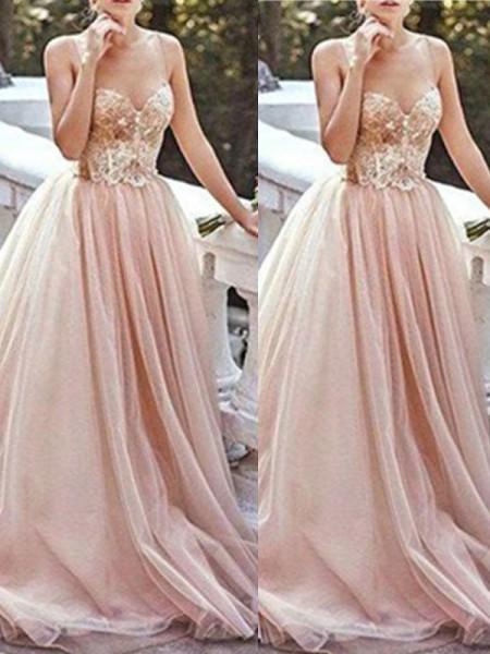 Princesa/Formato A Coração Sem Mangas Com cauda/Arrastar Missangas Tule Vestidos