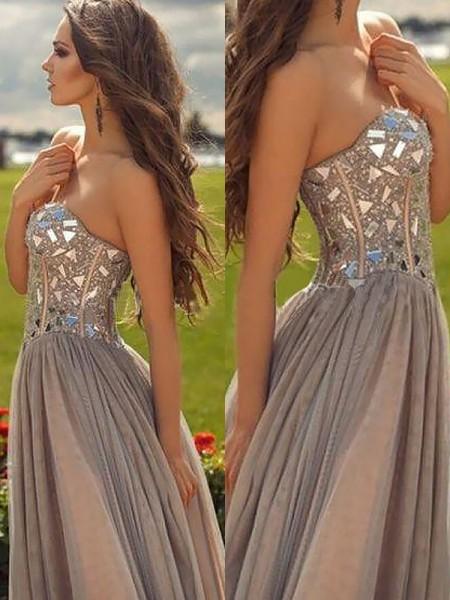 Princesa/Formato A Coração Sem Mangas Chiffon Missangas Até ao chão Vestidos