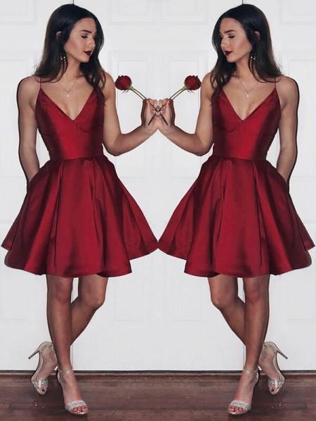 Princesa/Formato A Decote em V Sem Mangas Cetim Curto/Mini Vestidos