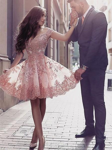 Princesa/Formato A Decote e costas em U Sem Mangas Appliques Curto/Mini Tule Vestidos
