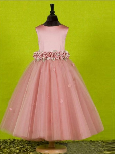 Princesa/Formato A Decote e costas em U Sem Mangas Laço Comprimento Médio Tule Vestidos Menina das Flores