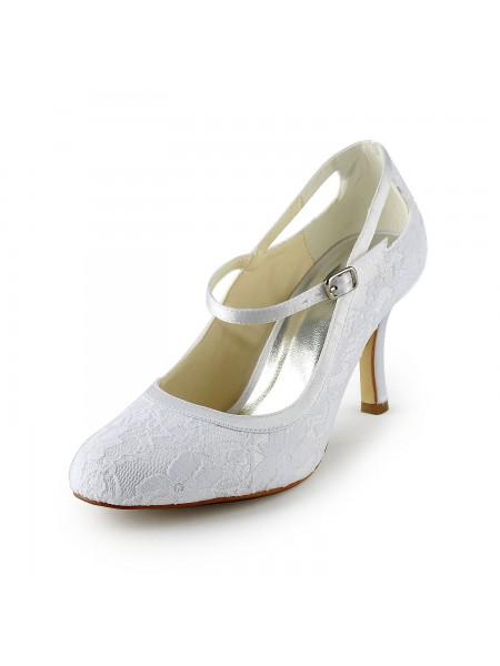 Mulheres Pretty Cetim Stiletto Heel Pumps com Fivela Branco Casamento Sapatos