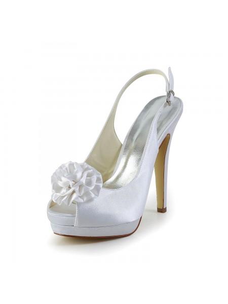 Mulheres Cetim Stiletto Heel Sandálias Peep Toe com Flor Branco Casamento Sapatos